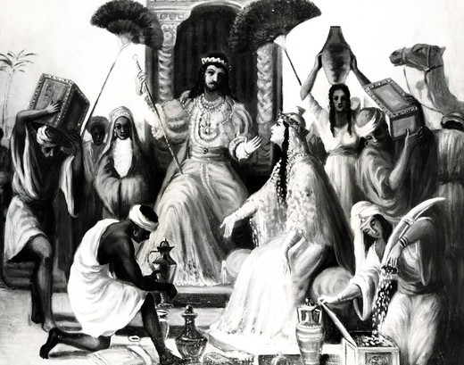 Solomon Receives the Queen of Sheba by Vittorio Bianchini, 1797-1880 : Stock Photo