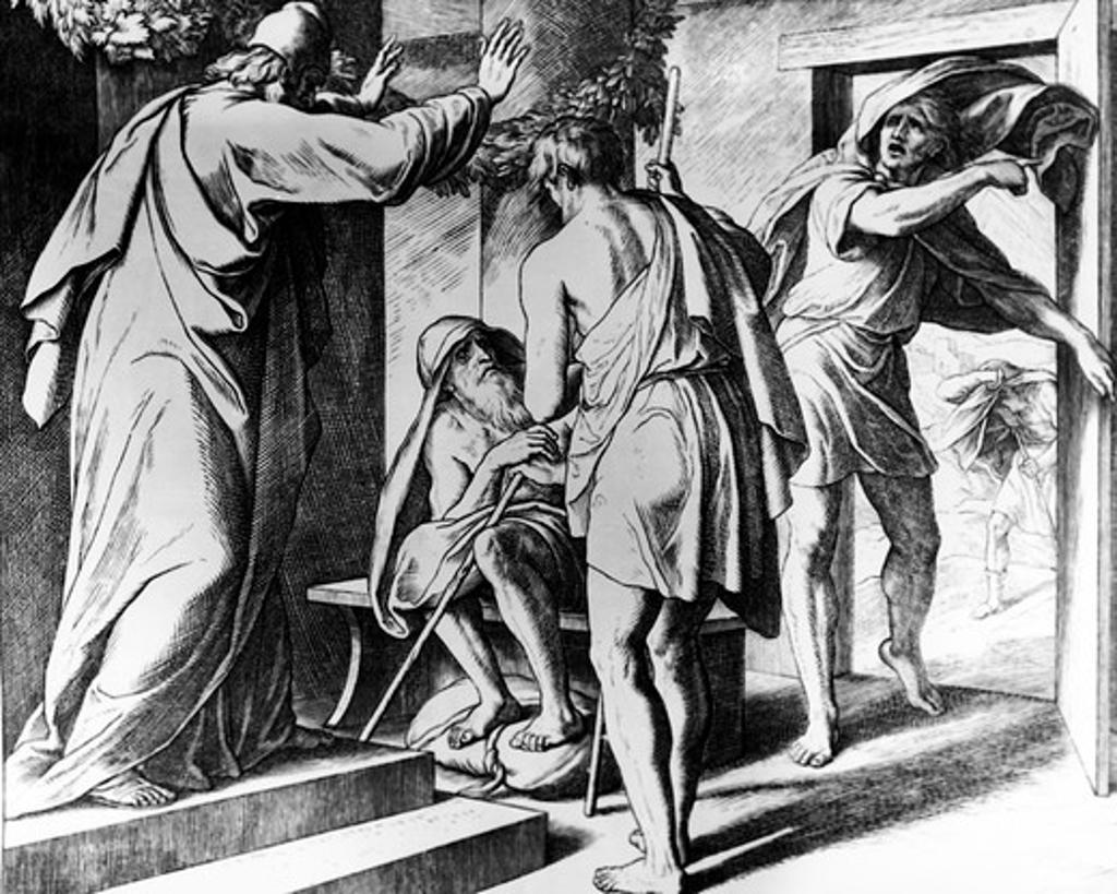 Job in His Affliction Blesses God by Julius Schnorr von Carolsfeld, 1794-1872 : Stock Photo