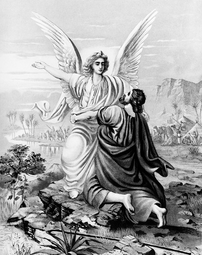Stock Photo: 995-87138 Jacob Wrestles with the Angel by W. Ebbinghaus, 19th Century