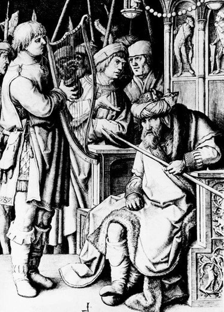 Stock Photo: 995-87139 David Plays the Harp for Saul by Lucas van Leyden, 1494-1533