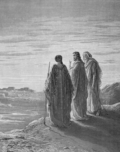 The Walk to Emmaus by Gustave Dore, 1832-1883 : Stock Photo