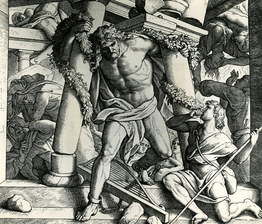 Stock Photo: 995-87201 Samson's Vengeance and Death by Julius Schnorr von Carolsfeld, (1794-1872)