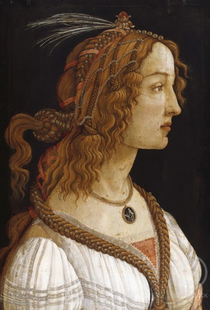 Stock Photo: 998-111 Portrait of a Young Woman  Sandro Botticelli (1444-1510/Italian)  Tempera on Wood Panel  Studel Art Institute, Frankfurt am Main