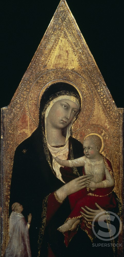 Stock Photo: 998-124 Madonna and Child with Donor by Lippo Memmi,  tempera on wood,  Circa 1335,  (active 1317-1347),  USA,  Washington DC,  National Gallery of Art