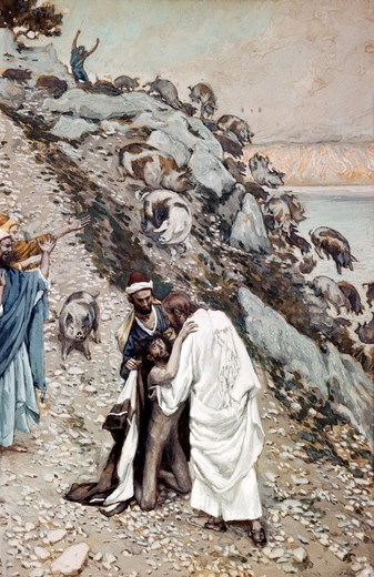 Stock Photo: 999-107 Swine Driven into the Sea