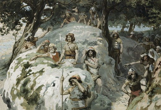 Stock Photo: 999-244 David in the Wilderness of Ziph James Tissot (1836-1902 French) Jewish Museum, New York, USA