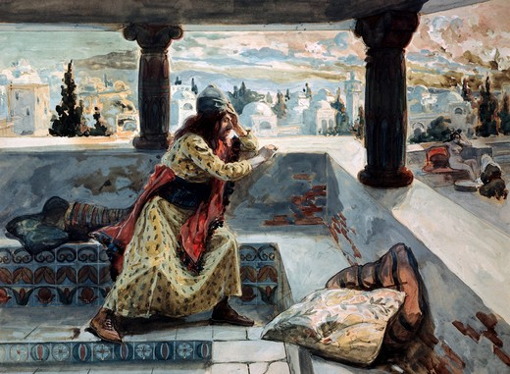 David sees Bath- Sheba Bathing James Tissot (1836-1902 French) Jewish Museum, New York, USA : Stock Photo