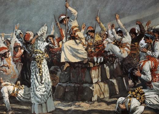 Stock Photo: 999-287 The Prophets of Baal Leap Upon the Altar