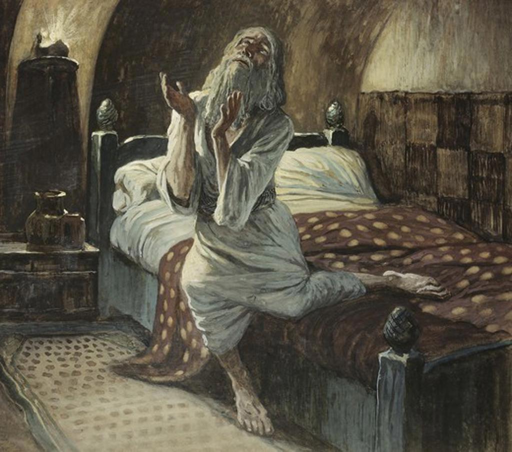 David Praying in the Night James Tissot (1836-1902 French) Jewish Museum, New York, USA : Stock Photo