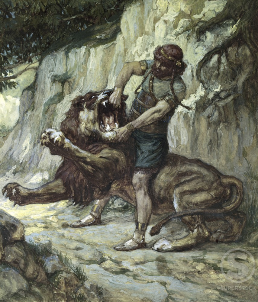 Stock Photo: 999-379 Samson Kills a Young Lion