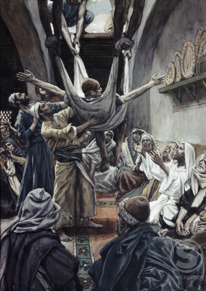 Stock Photo: 999-421 The Palsied Man Let Down Through the Roof James Tissot (1836-1902/French)