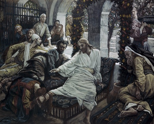 Stock Photo: 999-9120 A Woman Anoints the Feet of Jesus James Tissot (1836-1902 French)