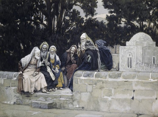 Stock Photo: 999-9997 Pharisees & Herodians Take Counsel Against Jesus James Tissot (1836-1902 French)